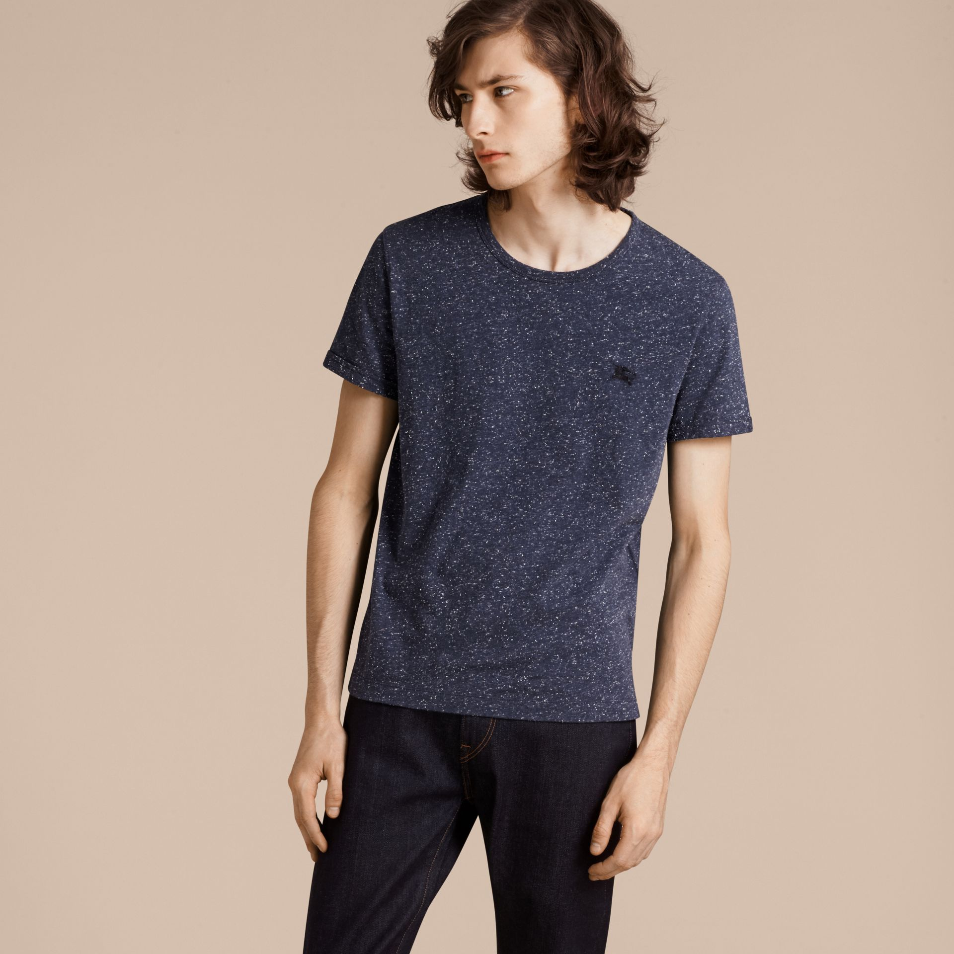 Dark navy Crew Neck Flecked Cotton Jersey T-Shirt Dark Navy - gallery image 6