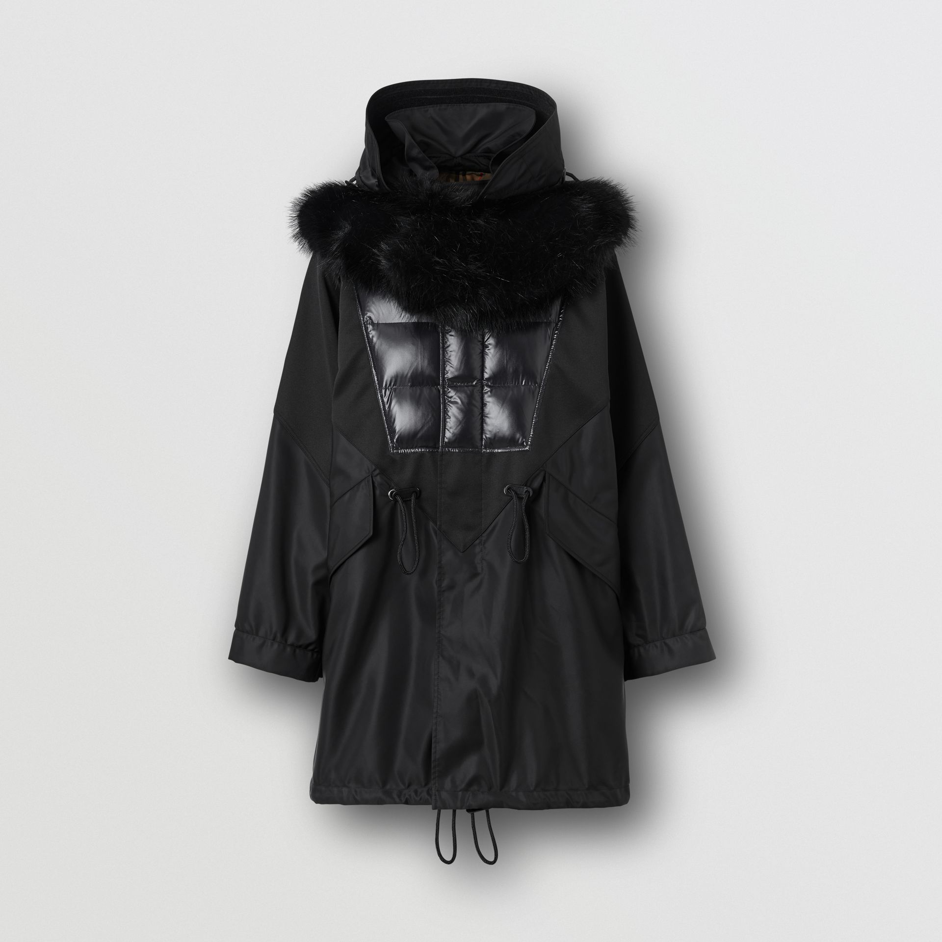 Detachable Hood Puffer Detail Nylon Parka in Black - Men | Burberry - gallery image 3