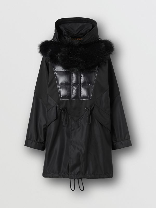 Detachable Hood Puffer Detail Nylon Parka in Black - Men | Burberry - cell image 3