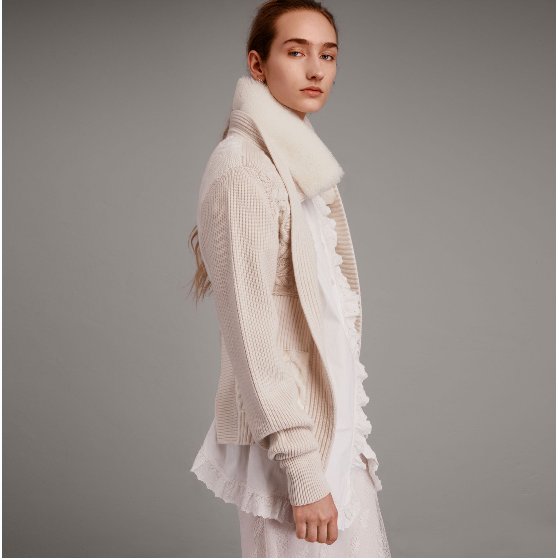 Shearling Collar Knitted Wool Cashmere Jacket in Natural White - Women | Burberry - gallery image 1