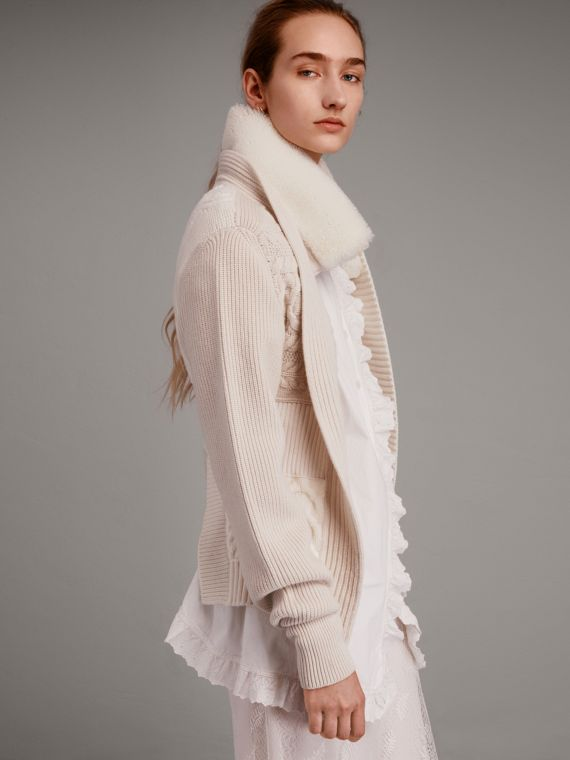 Shearling Collar Knitted Wool Cashmere Jacket - Women | Burberry Singapore
