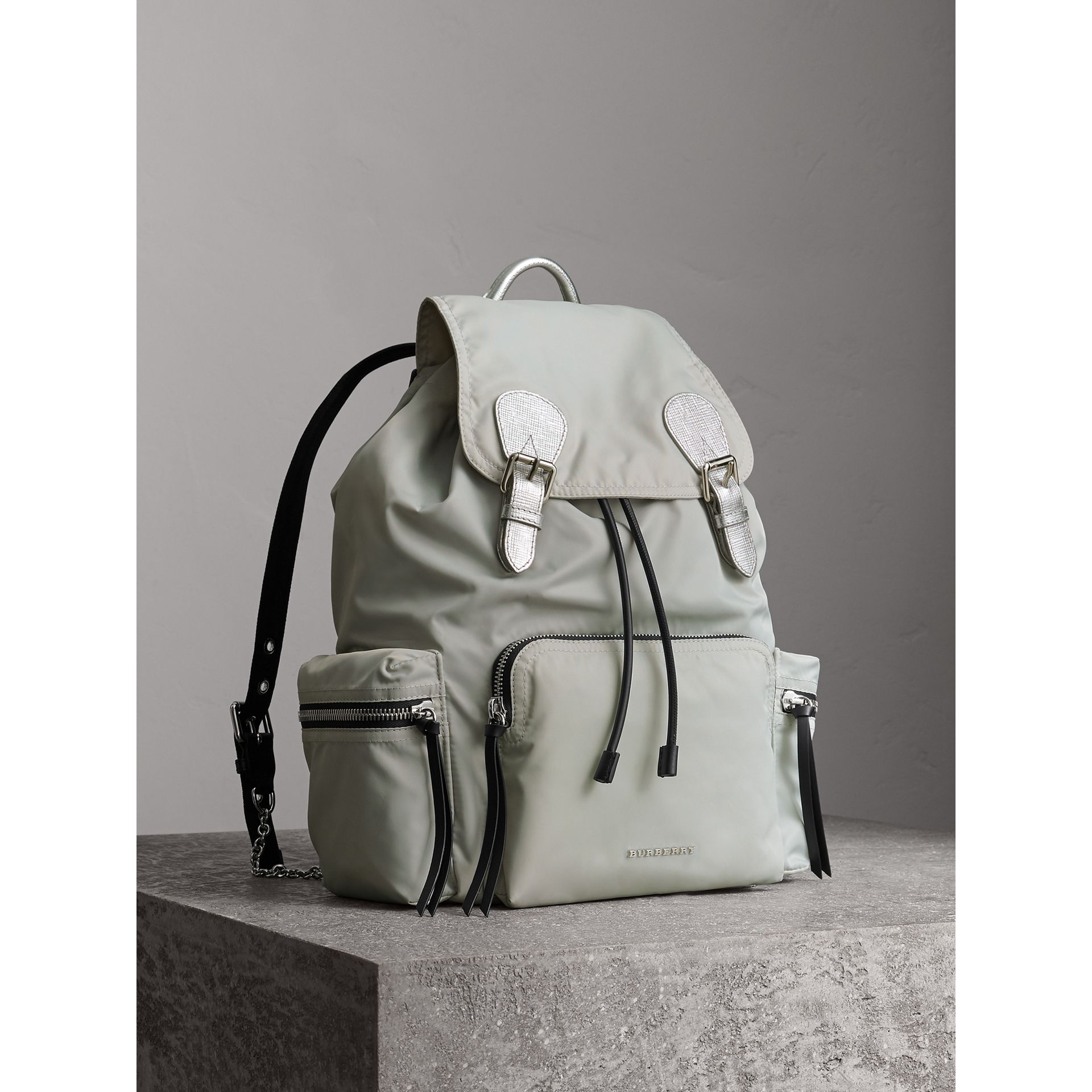 The Large Rucksack in Technical Nylon and Leather in Pale Stone/silver - Women | Burberry Hong Kong - gallery image 1