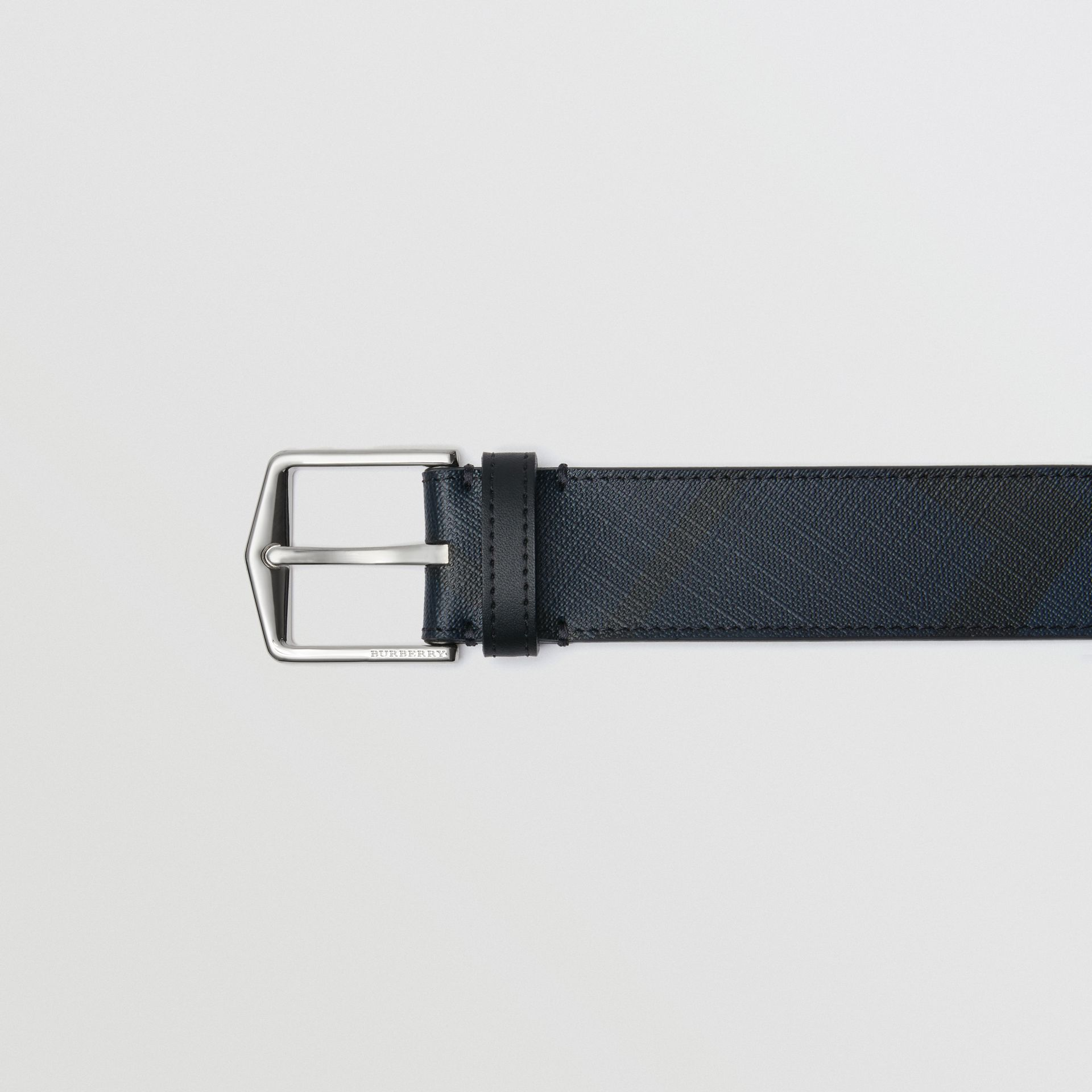 Leather Trim London Check Belt in Navy/black - Men | Burberry Australia - gallery image 1