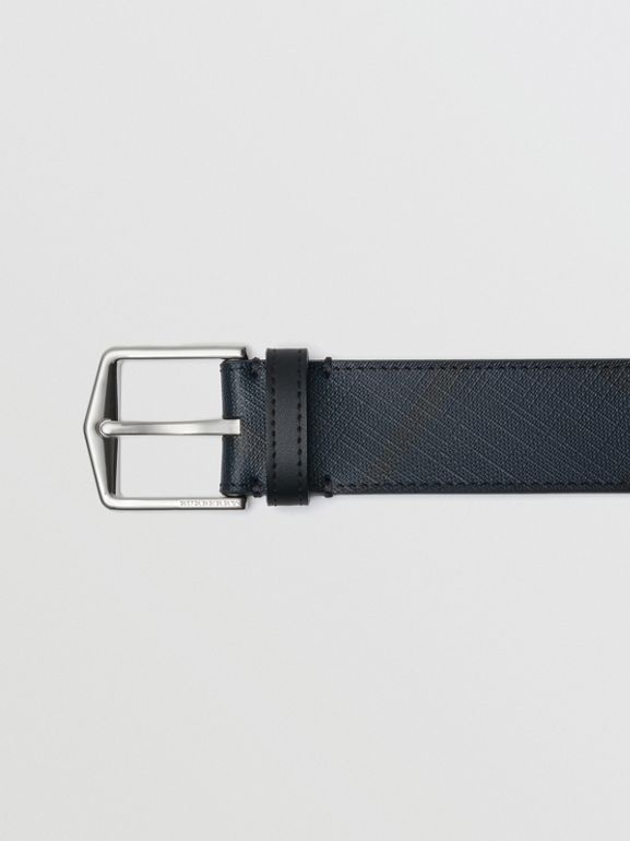 Leather Trim London Check Belt in Navy/black - Men | Burberry - cell image 1