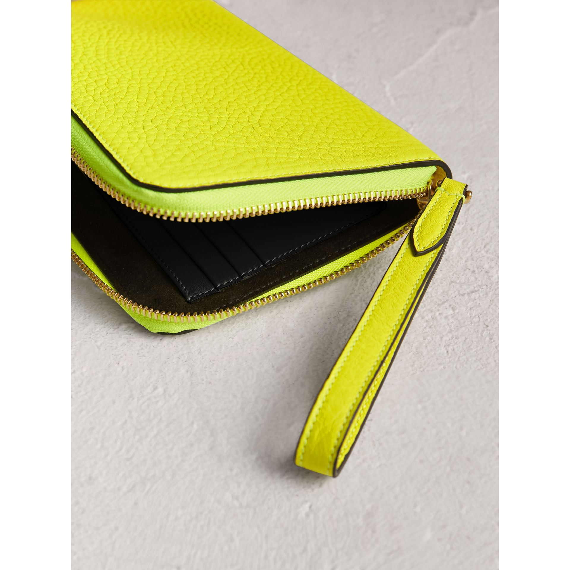 Embossed Neon Leather Travel Wallet in Bright Yellow | Burberry United Kingdom - gallery image 3