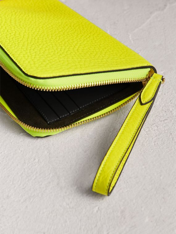 Embossed Neon Leather Travel Wallet in Bright Yellow | Burberry - cell image 3
