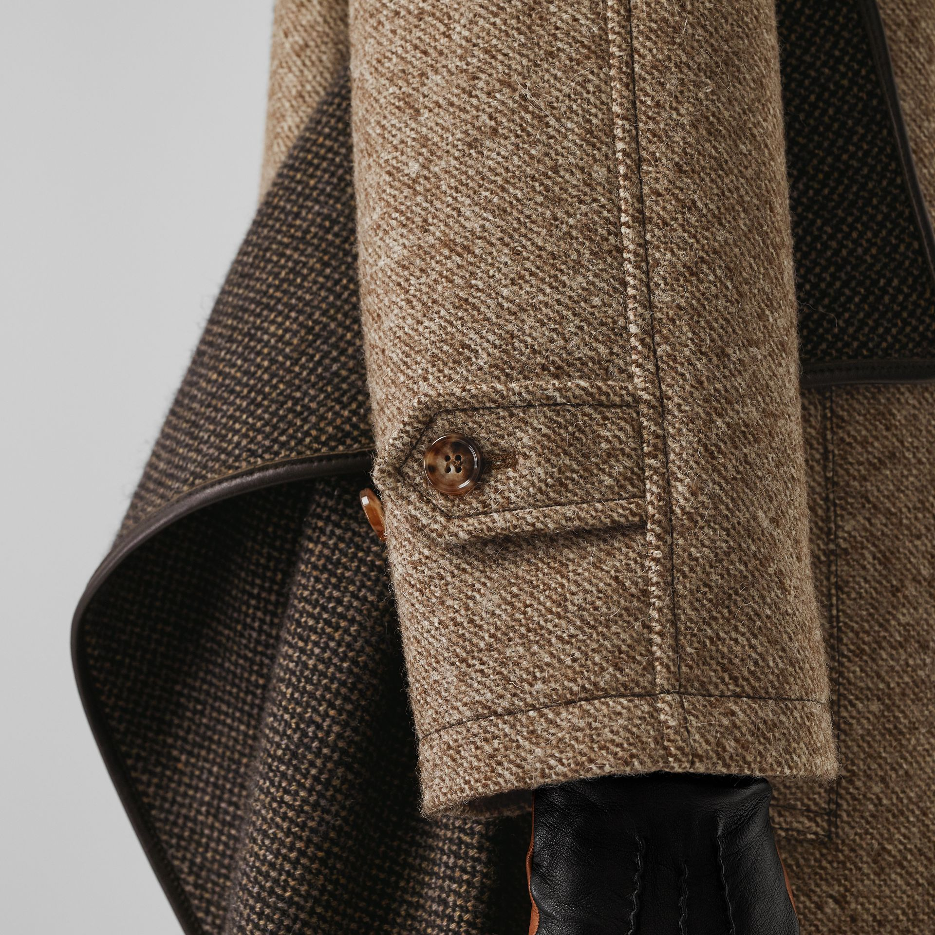 Scarf Detail Wool Mohair Tweed Car Coat in Dark Cheshnut Brown - Women | Burberry - gallery image 4