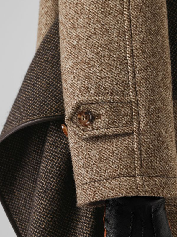 Scarf Detail Wool Mohair Tweed Car Coat in Dark Cheshnut Brown - Women | Burberry United States - cell image 3