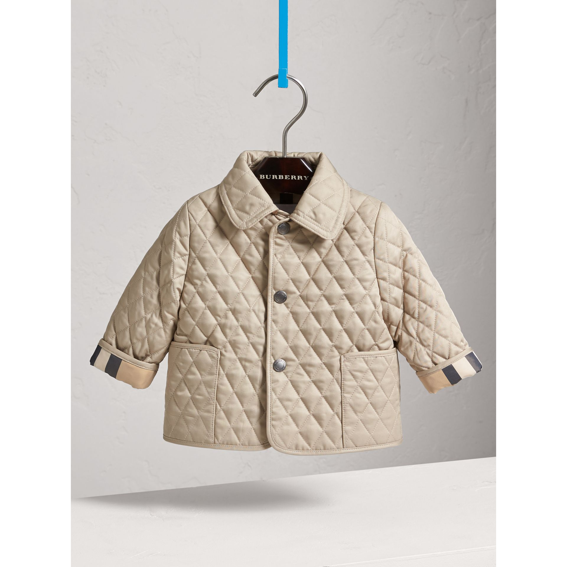 Check Detail Diamond Quilted Jacket in Mink | Burberry United Kingdom - gallery image 0