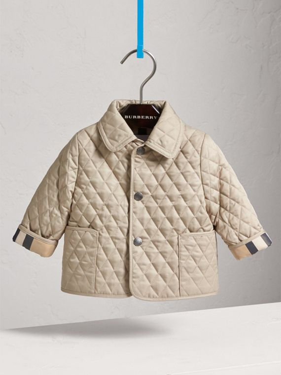 Check Detail Diamond Quilted Jacket in Mink