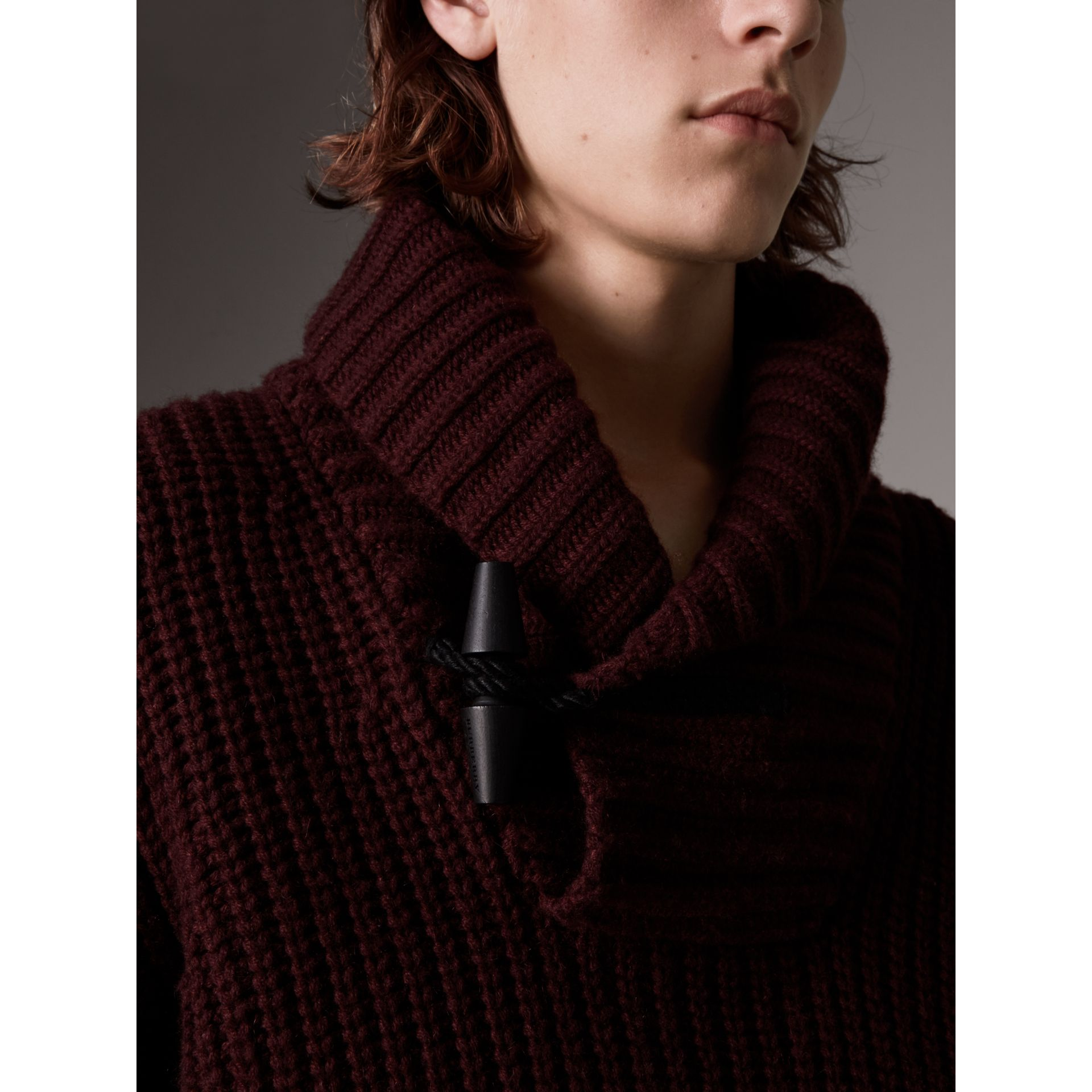 Shawl Collar Wool Cashmere Sweater in Mahogany Red - Men | Burberry - gallery image 2