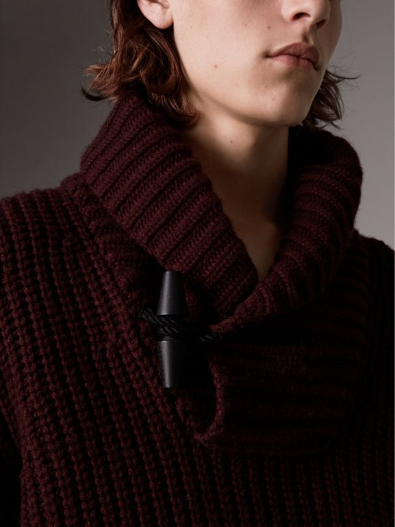 Shawl Collar Wool Cashmere Sweater in Mahogany Red - Men | Burberry United Kingdom - cell image 1