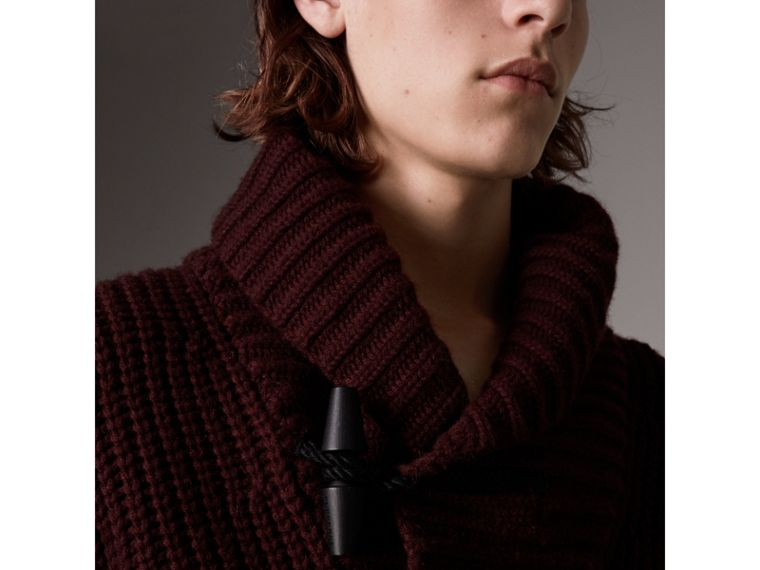 Shawl Collar Wool Cashmere Sweater in Mahogany Red - Men | Burberry United States - cell image 1