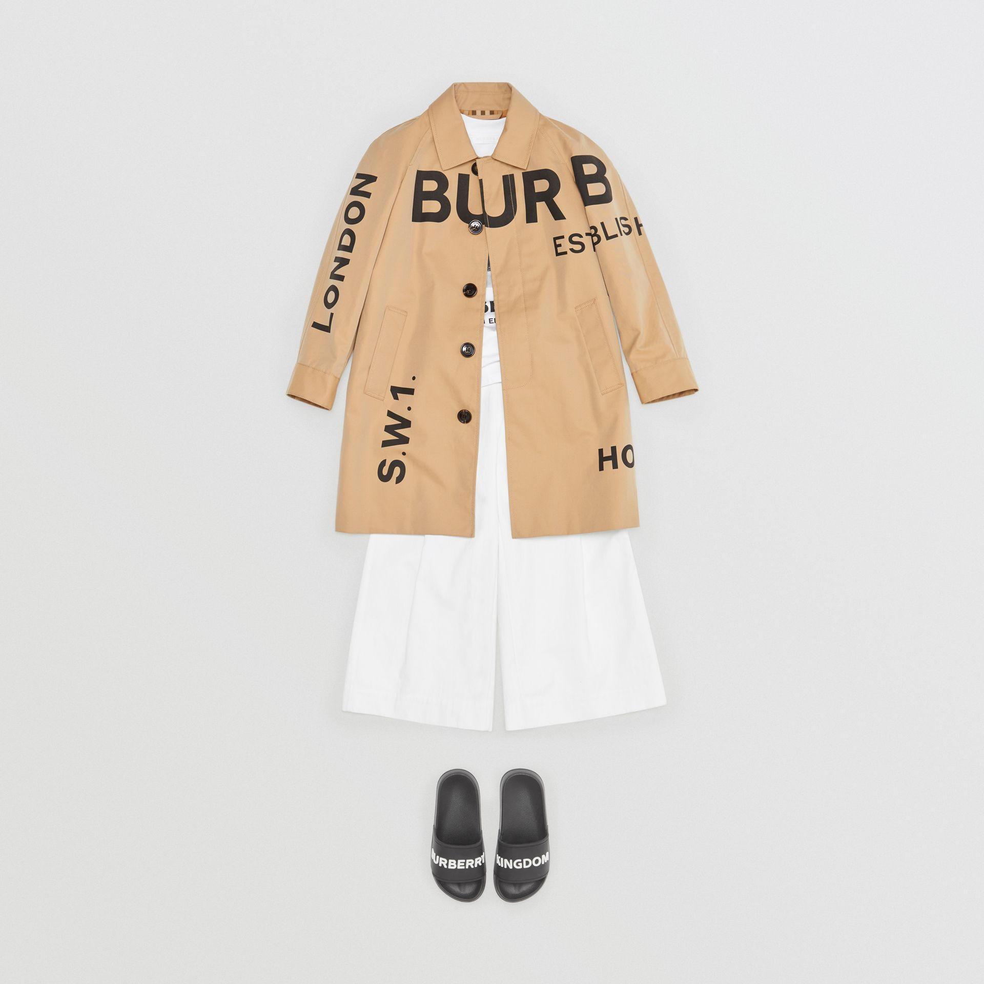 Horseferry Print Cotton Gabardine Car Coat in Honey | Burberry - gallery image 3