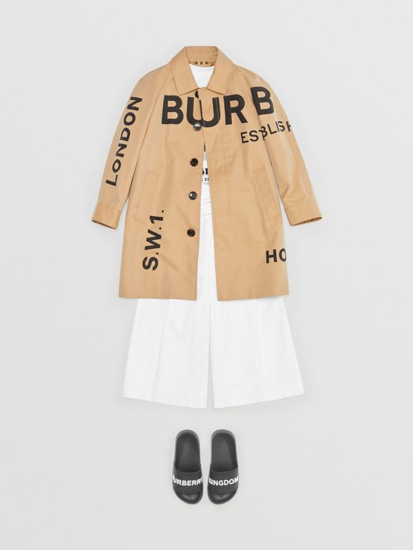Horseferry Print Cotton Gabardine Car Coat in Honey | Burberry Singapore - cell image 3