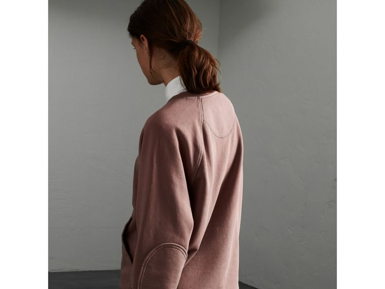 Unisex Pigment-dyed Cotton Oversize Sweatshirt in Dusty Mauve - Women | Burberry - cell image 1