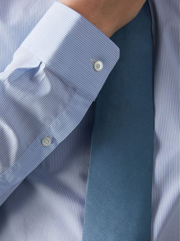 Slim Fit Striped Cotton Poplin Shirt in City Blue - Men | Burberry United Kingdom - cell image 1