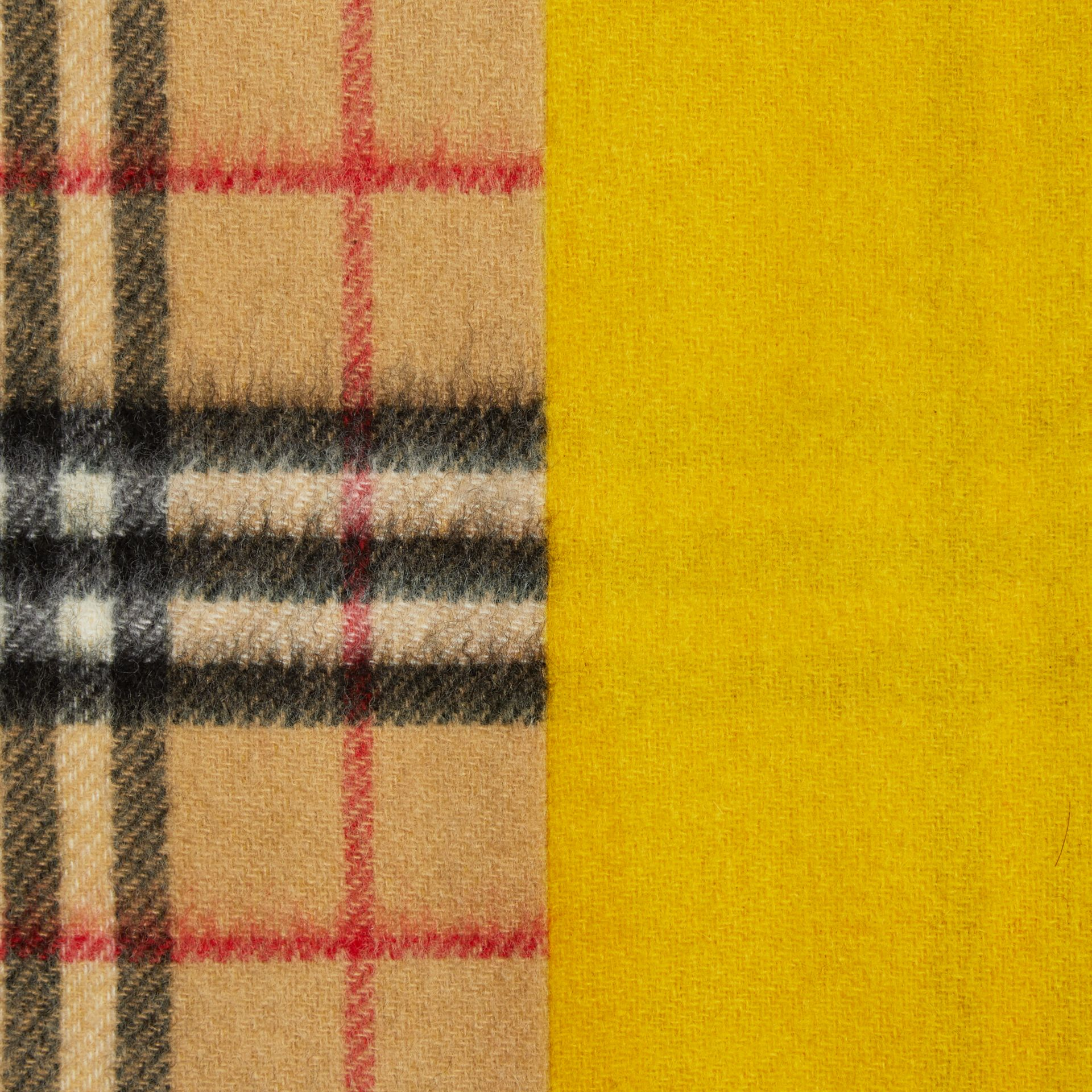 Colour Block Vintage Check Cashmere Scarf in Gorse Yellow | Burberry - gallery image 1