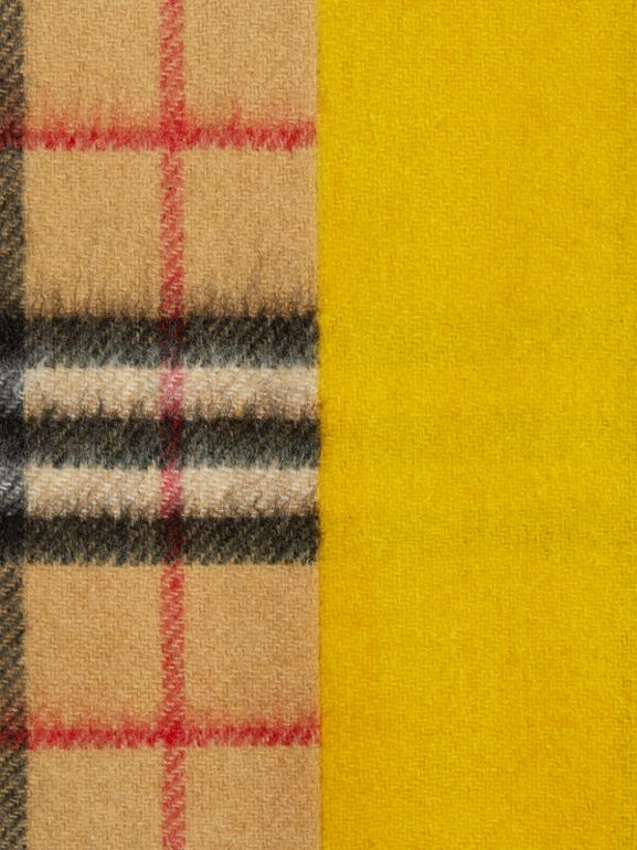 Colour Block Vintage Check Cashmere Scarf in Gorse Yellow | Burberry - cell image 1