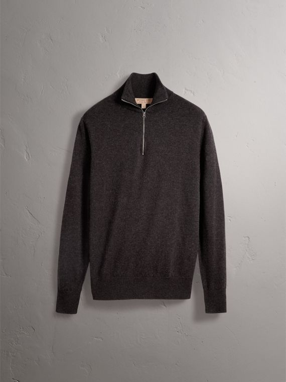 Zip-neck Cashmere Cotton Sweater in Charcoal - Men | Burberry United Kingdom - cell image 3