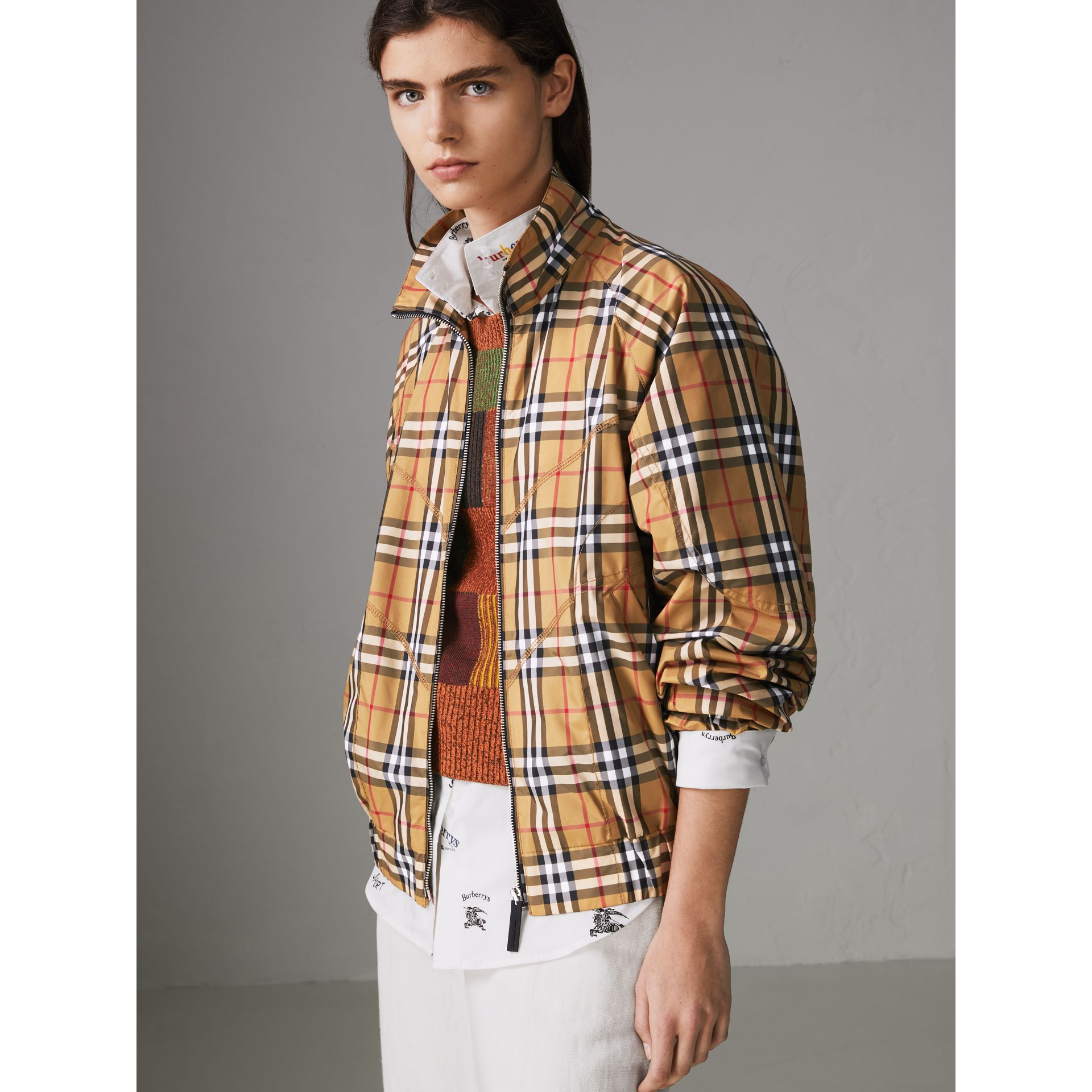Topstitch Detail Vintage Check Harrington Jacket in Antique Yellow - Women | Burberry Australia - gallery image 5