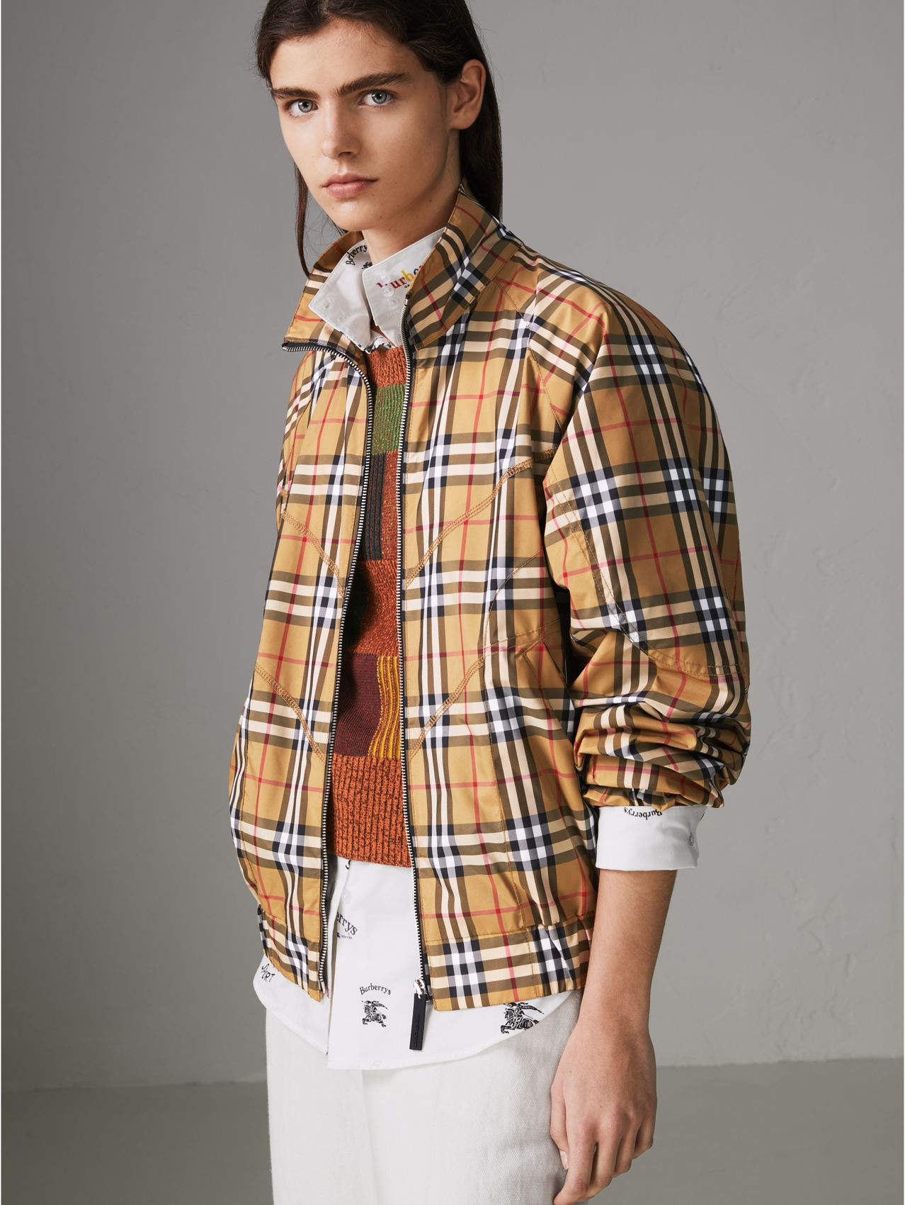 Topstitch Detail Vintage Check Harrington Jacket in Antique Yellow