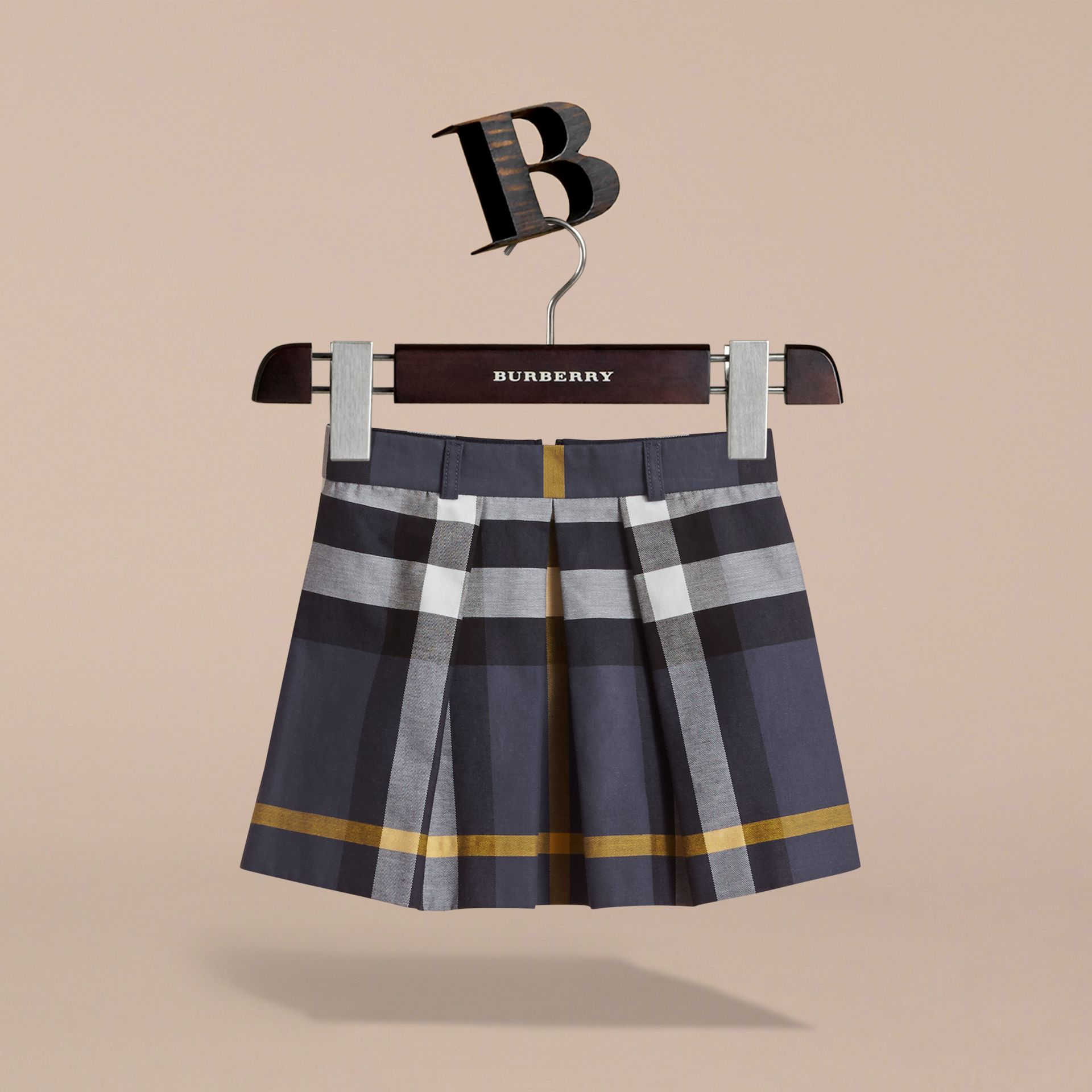 Pleated Check Cotton Skirt in Pale Navy - Girl | Burberry - gallery image 3