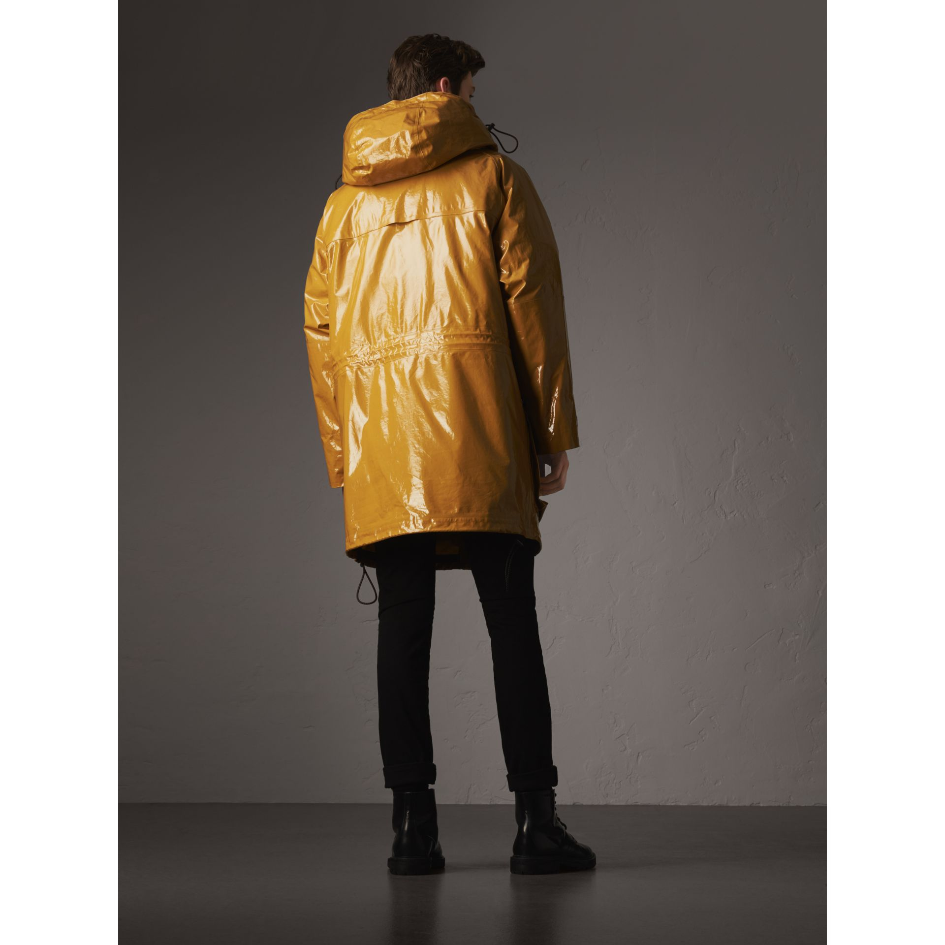 Seam-sealed Weatherproof Coat with Down-filled Warmer in Amber Yellow - Men | Burberry - gallery image 3