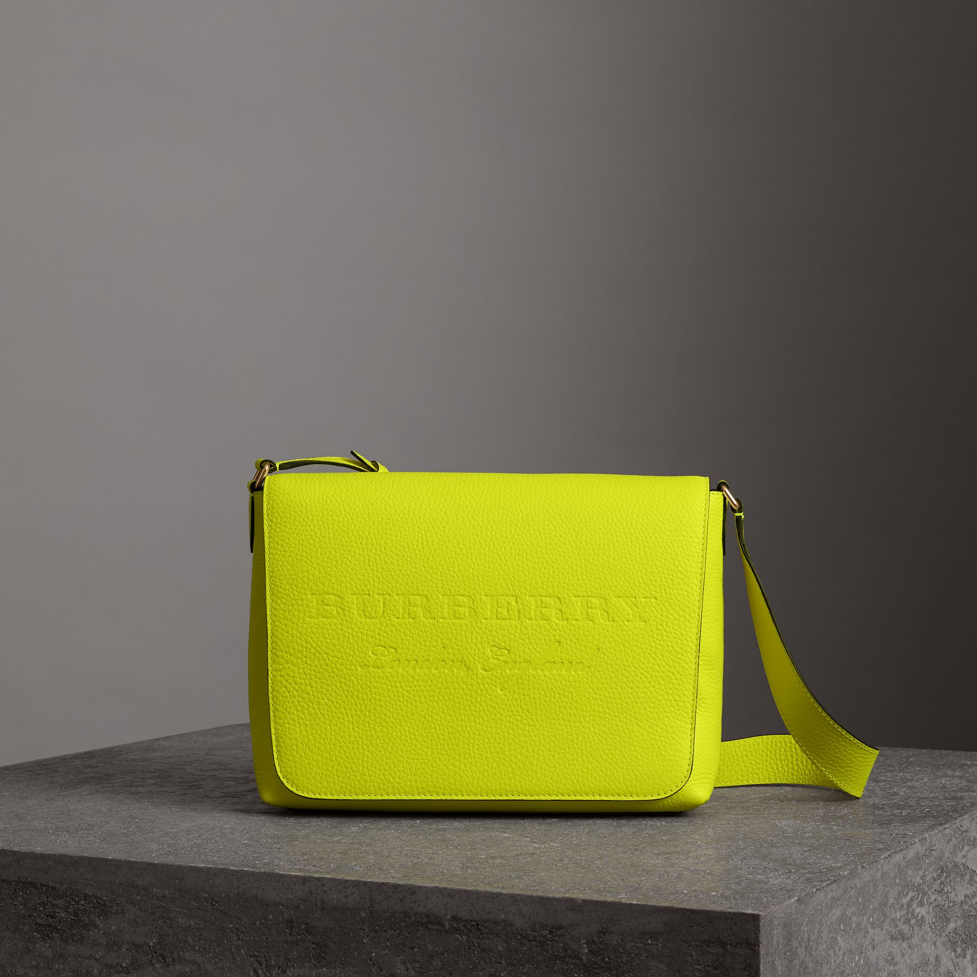 Medium Embossed Leather Messenger Bag in Neon Yellow | Burberry Canada - gallery image 0
