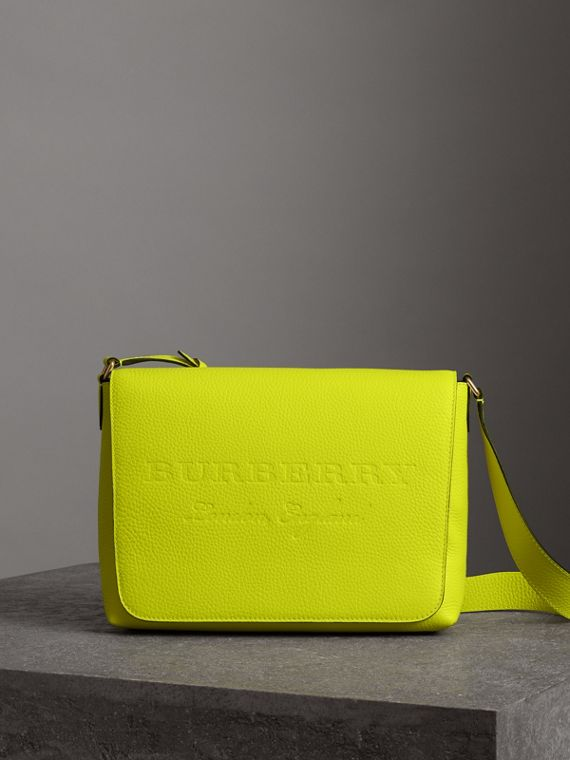 Medium Embossed Leather Messenger Bag in Neon Yellow