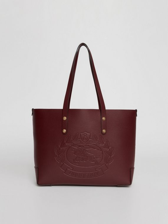 Small Embossed Crest Leather Tote in Burgundy