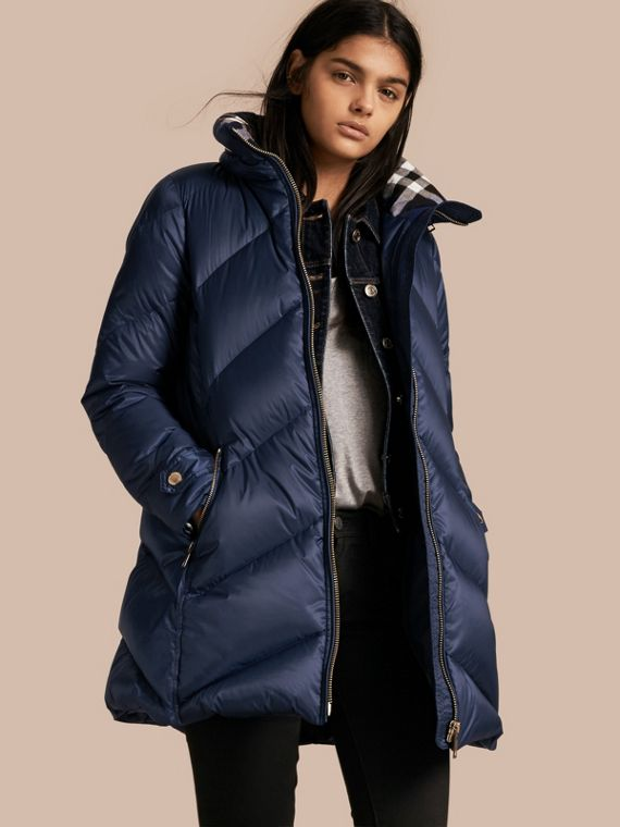 Chevron-quilted Down-filled Coat Canvas Blue