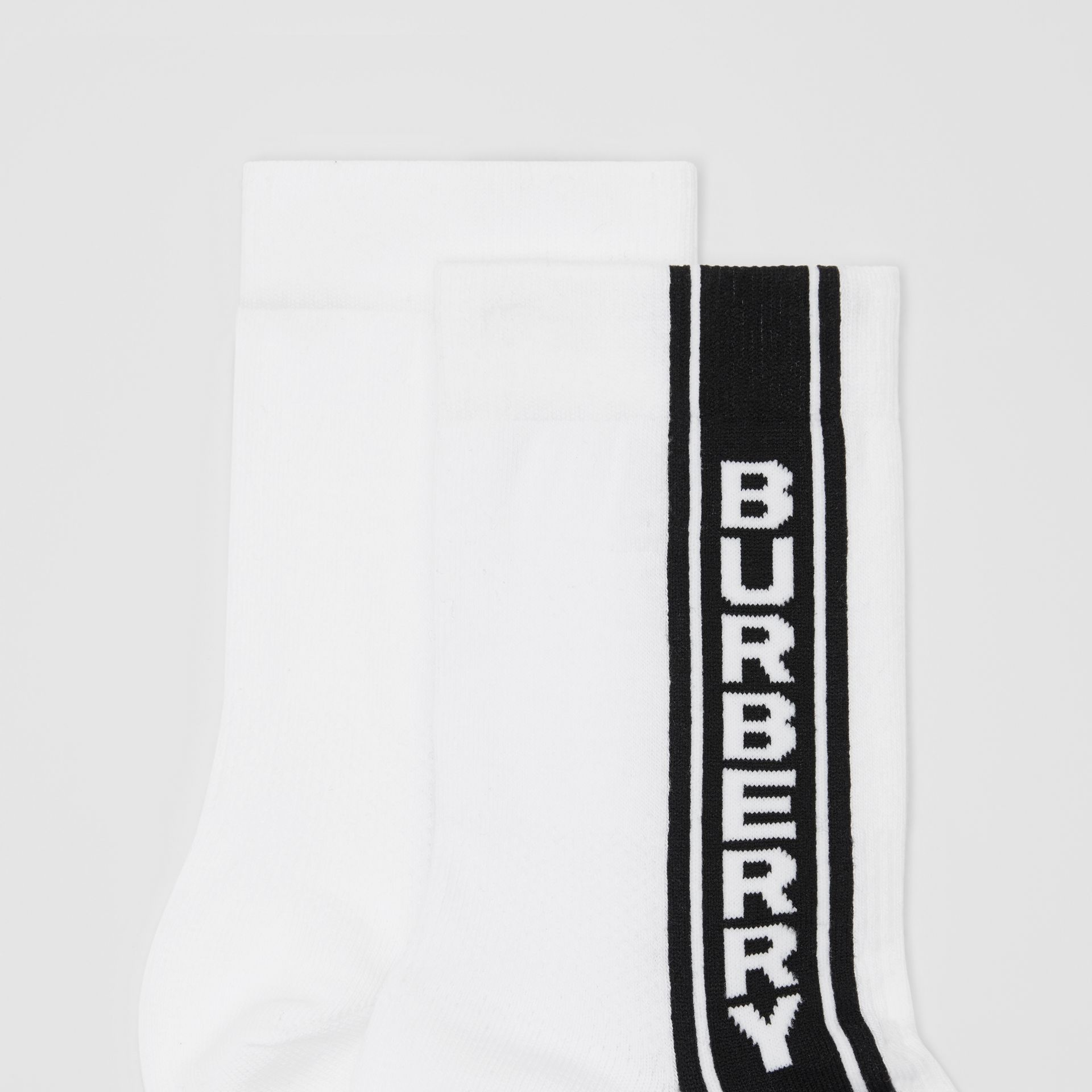 Logo Stripe Intarsia Cotton Blend Socks in White | Burberry Canada - gallery image 1