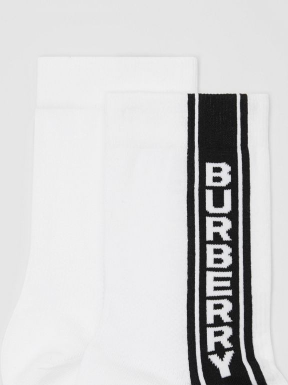 Logo Stripe Intarsia Cotton Blend Socks in White | Burberry Canada - cell image 1