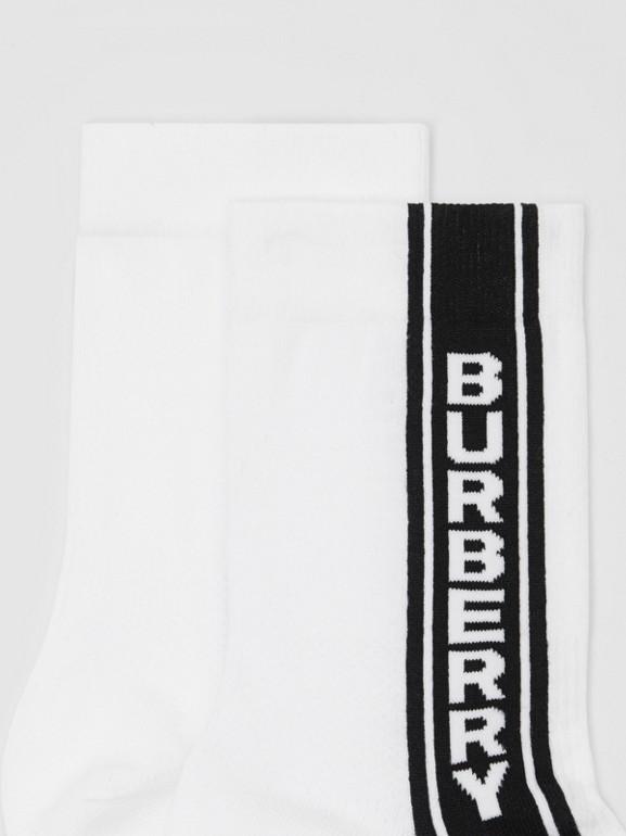 Logo Stripe Intarsia Cotton Blend Socks in White | Burberry United Kingdom - cell image 1