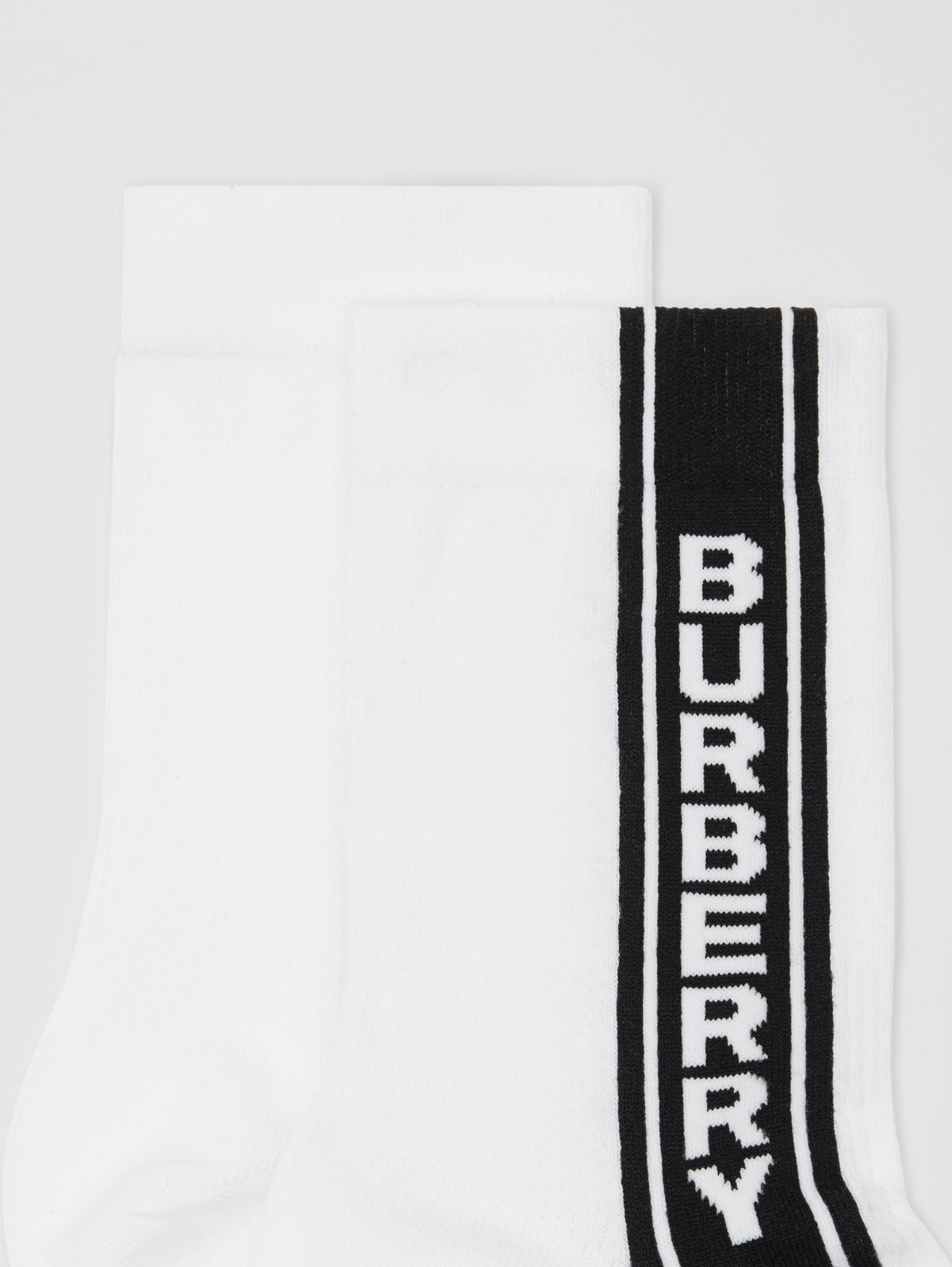 Logo Stripe Intarsia Cotton Blend Socks in White