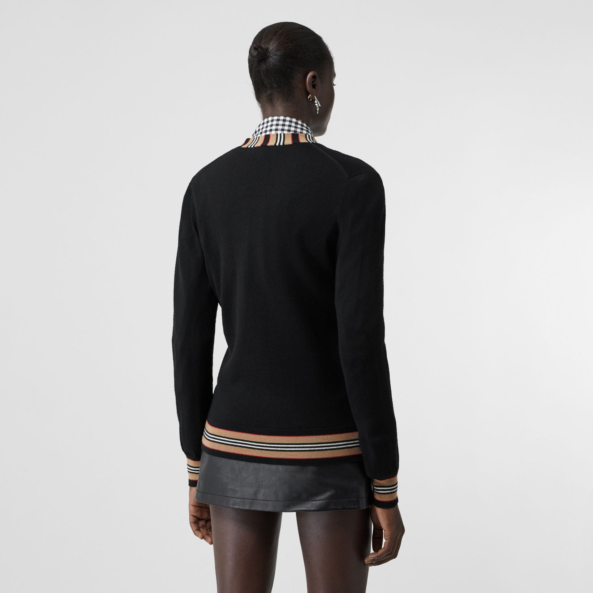 Icon Stripe Detail Merino Wool Cardigan in Black - Women | Burberry Hong Kong - gallery image 2