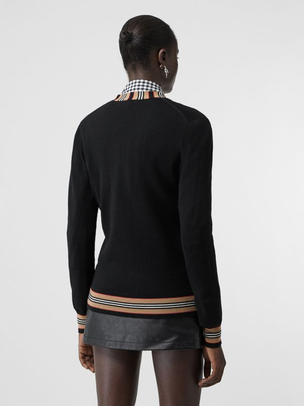 Icon Stripe Detail Merino Wool Cardigan in Black - Women | Burberry Hong Kong - cell image 2