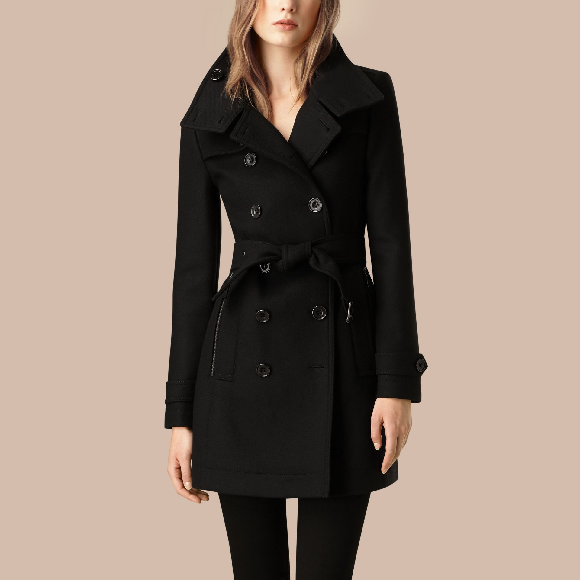 Black Short Double Wool Twill Trench Coat Black - gallery image 3