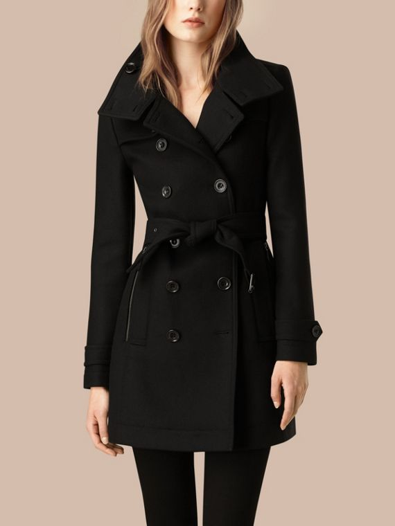 Black Short Double Wool Twill Trench Coat Black - cell image 2
