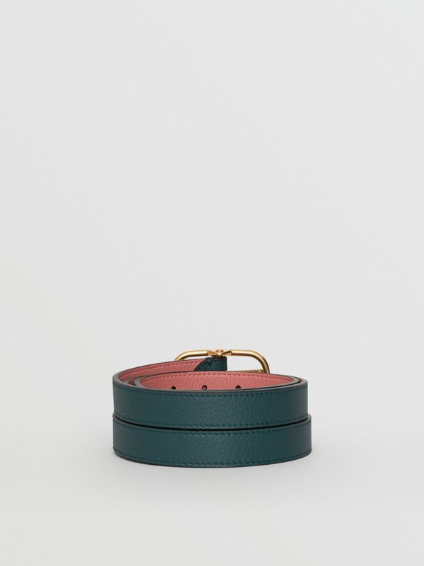 Double-strap Leather Belt in Dark Cyan/dusty Rose - Women | Burberry Australia - cell image 3