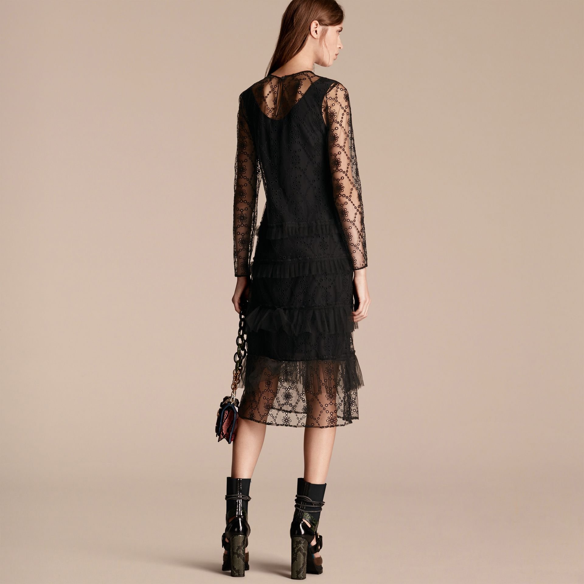 Black Embroidered Tulle Tiered Dress - gallery image 3