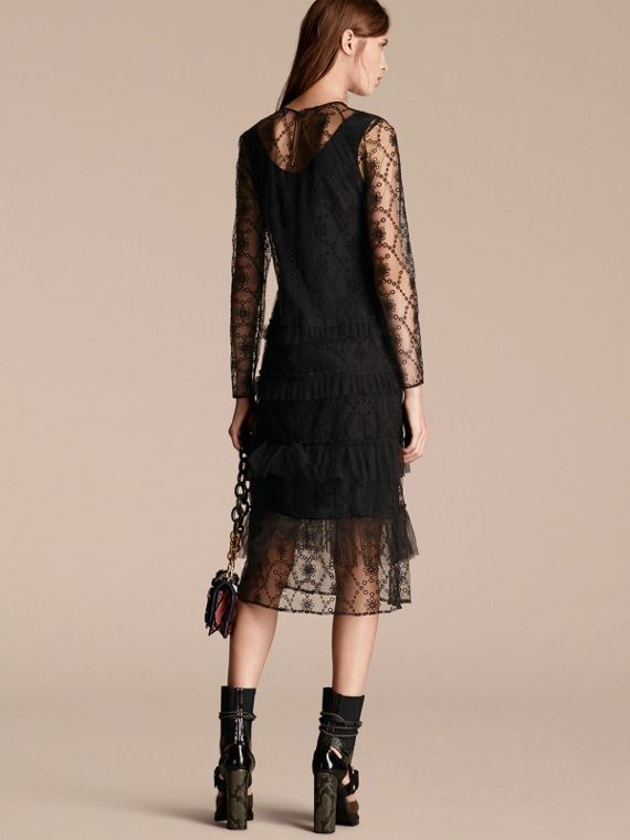 Black Embroidered Tulle Tiered Dress - cell image 2