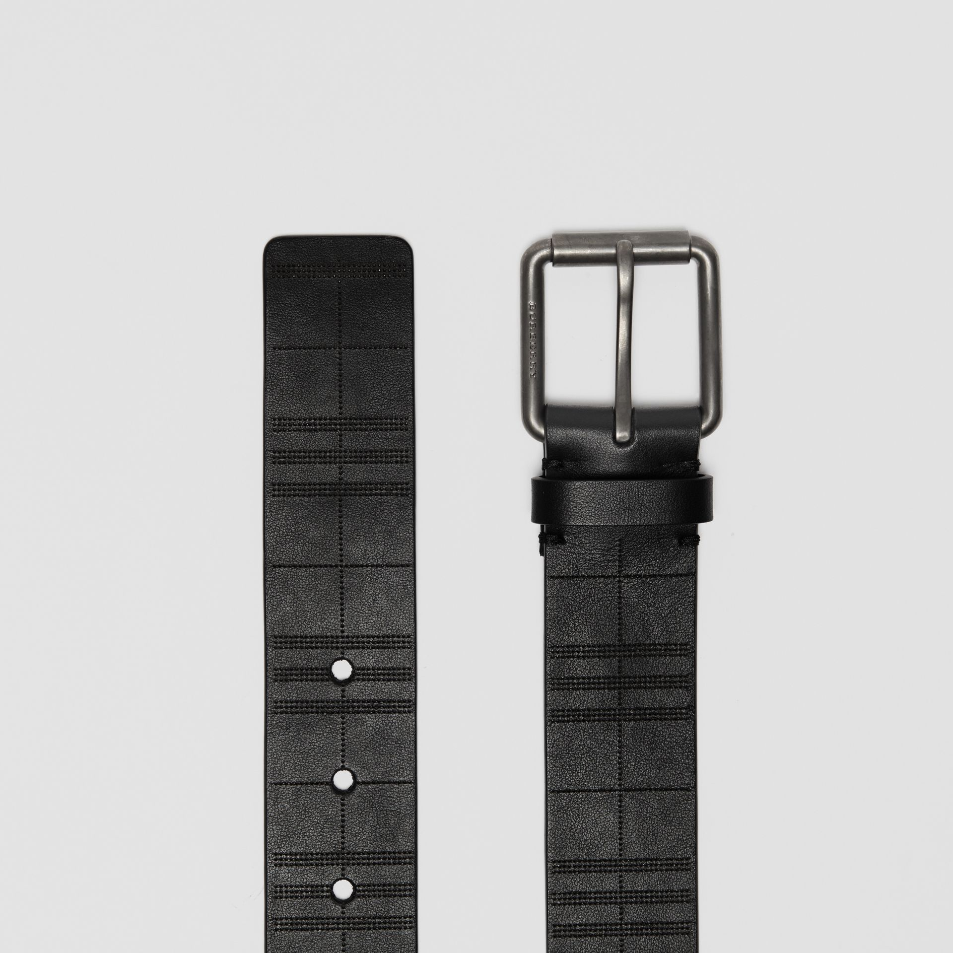 Perforated Check Leather Belt in Black - Men | Burberry - gallery image 4