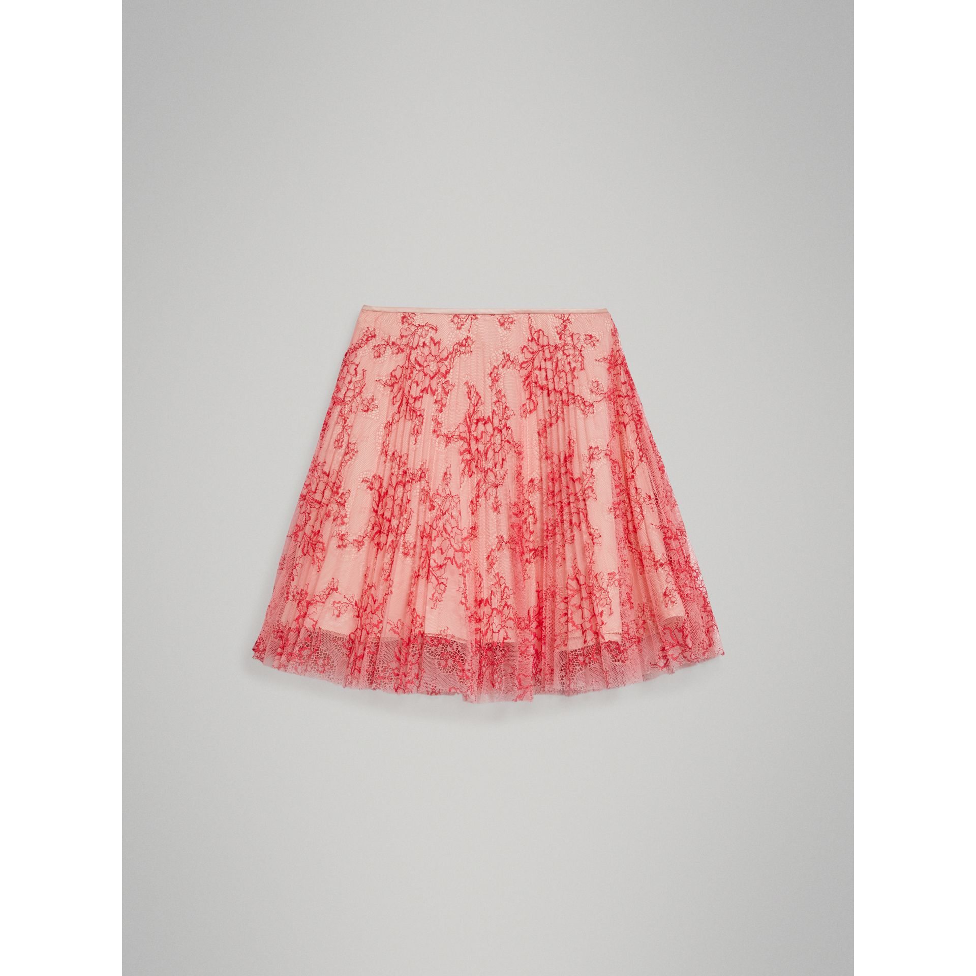 Pleated Lace Skirt in Pale Apricot/coral - Girl | Burberry - gallery image 2