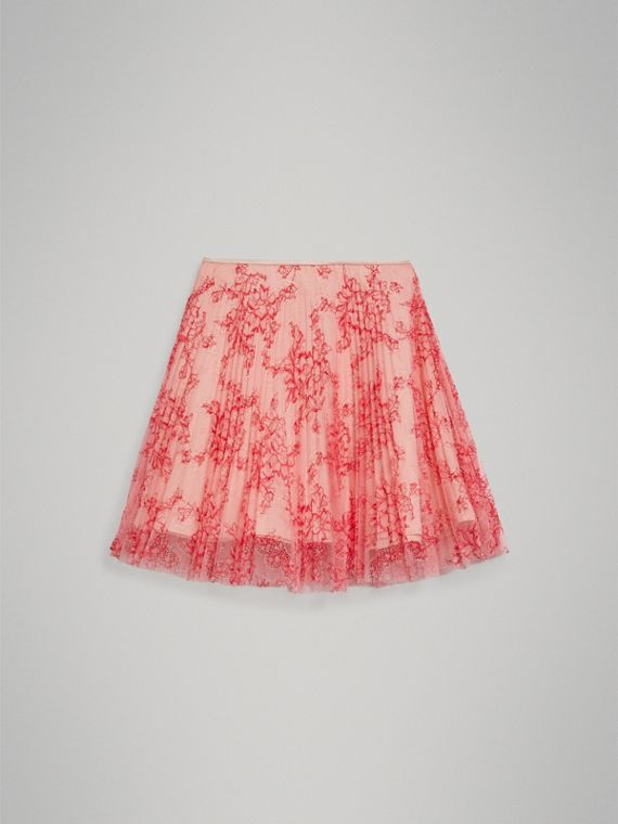 Pleated Lace Skirt in Pale Apricot/coral - Girl | Burberry - cell image 2