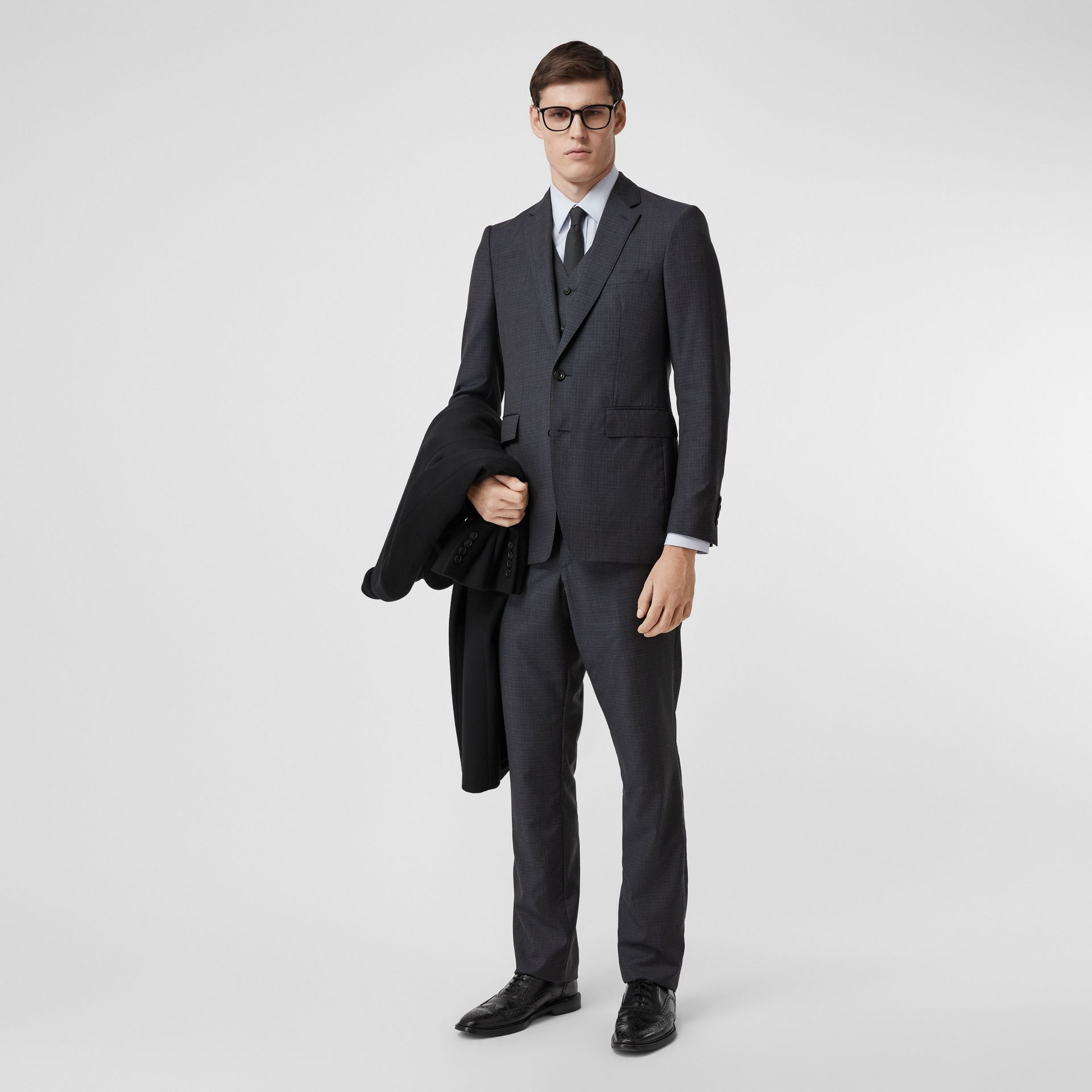 Classic Fit Check Wool Silk Three-piece Suit in Navy - Men | Burberry United Kingdom - gallery image 0