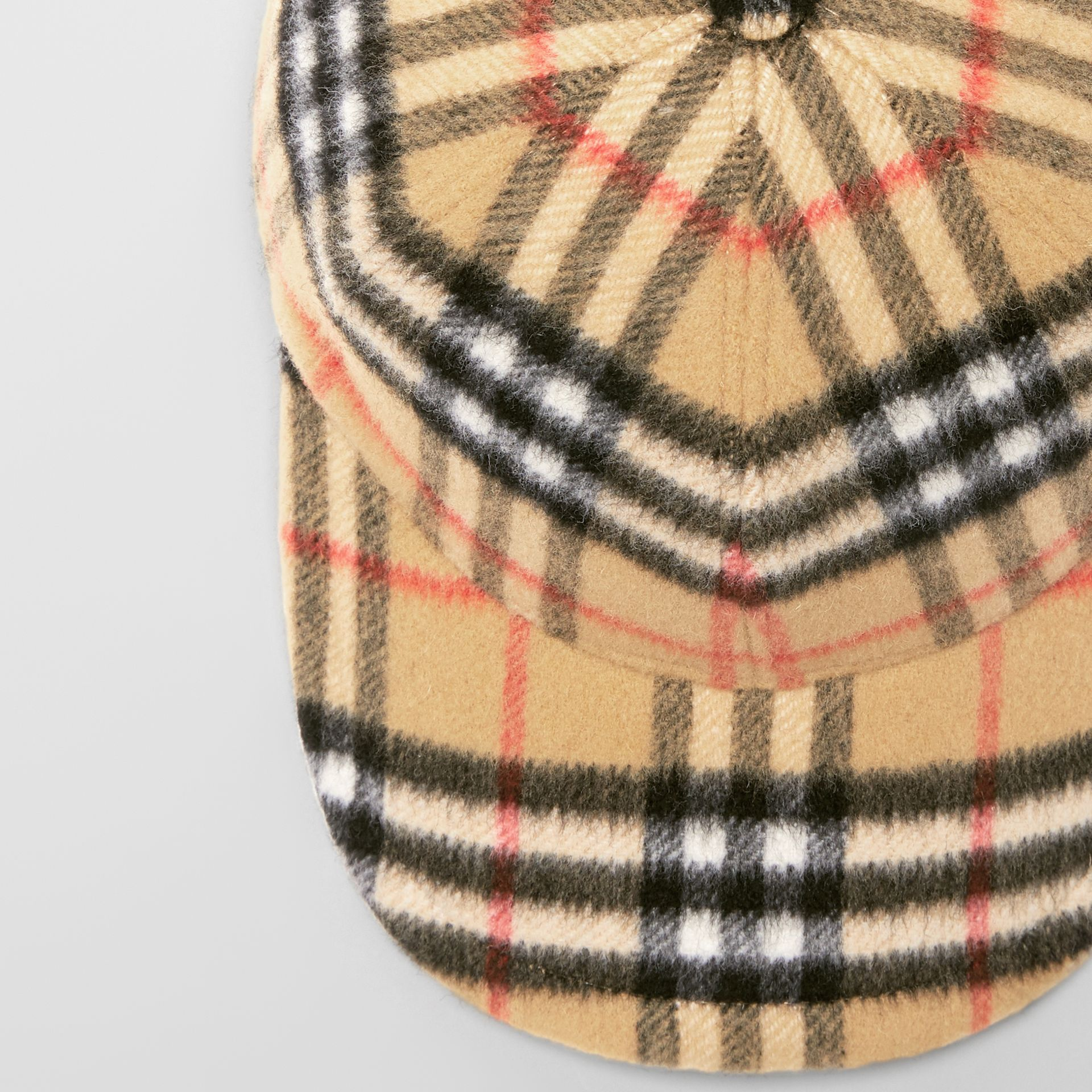 Vintage Check Wool Baseball Cap in Antique Yellow | Burberry United Kingdom - gallery image 1