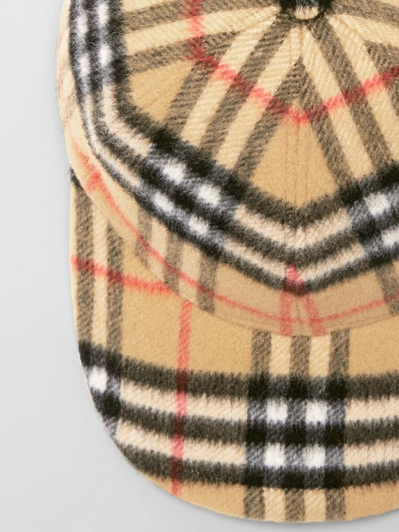 Vintage Check Wool Baseball Cap in Antique Yellow | Burberry - cell image 1