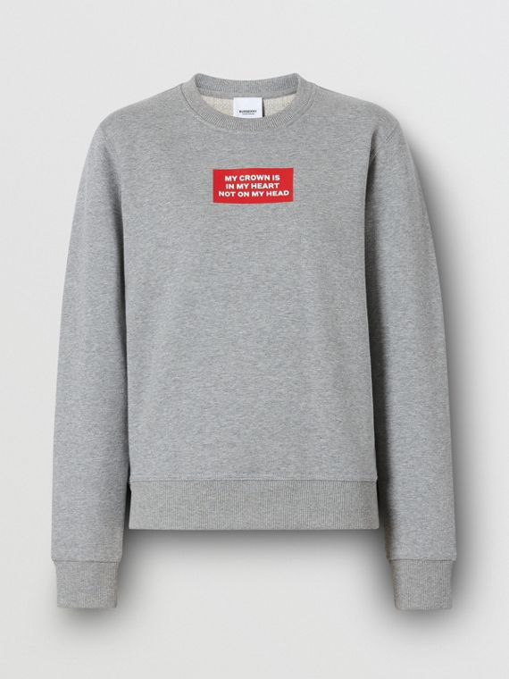 Quote Print Cotton Sweatshirt in Pale Grey Melange